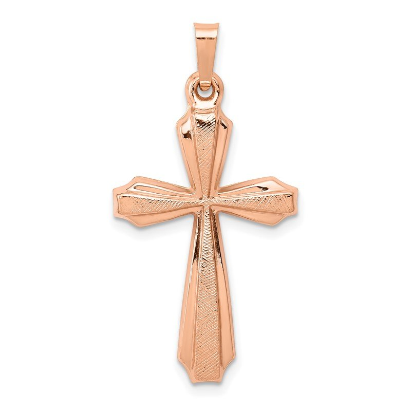 Quality Gold 14K Rose Gold Textured And Polished Passion Cross Pendant