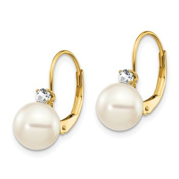 14k 7-8mm Whtie Round FW Cultured Pearl AA Diamond Leverback Earrings