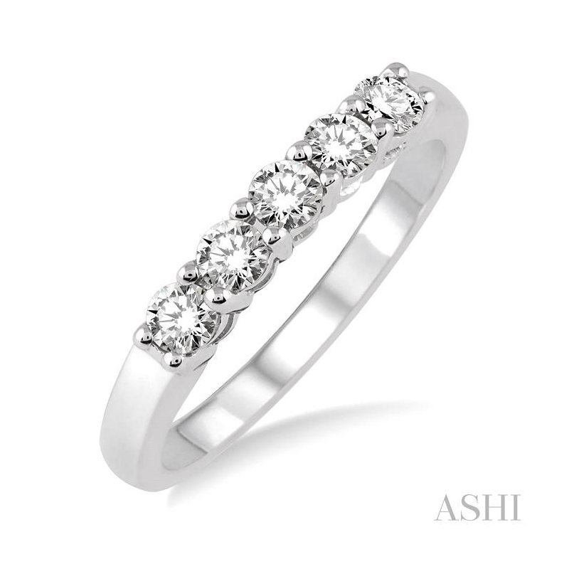 ASHI five stone diamond wedding band
