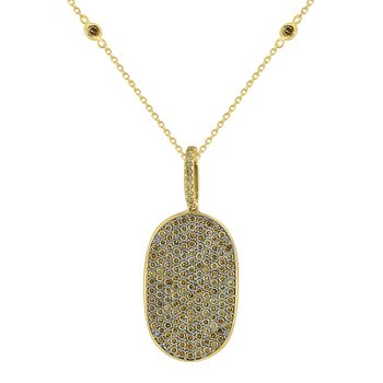 Champagne Diamond Dog Tag Necklace Set in 14 Kt. Gold