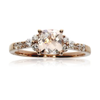 14k Rose Gold Morganite and Diamond Fashion Ring