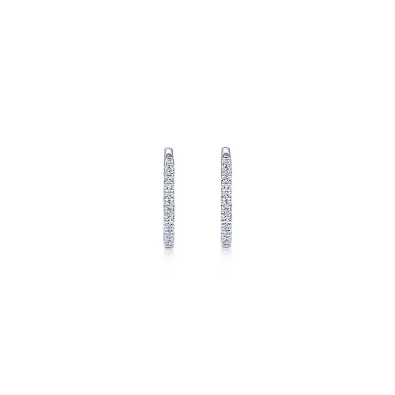Gabriel Fashion 14k White Gold Classic 10mm Pave Diamond Huggie Earrings