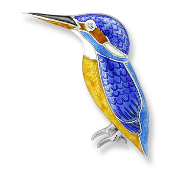 Sterling Silver Kingfisher Brooch-Blue.  Diamonds.