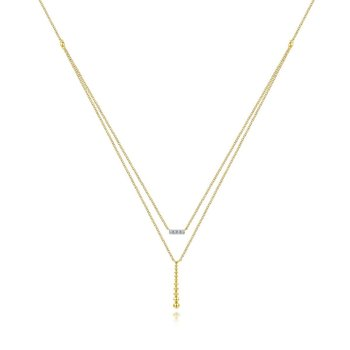 14K Yellow Gold Layered Dainty Diamond Bar Necklace