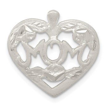 Sterling Silver MOM HEART W/ FLOWERS CHARM