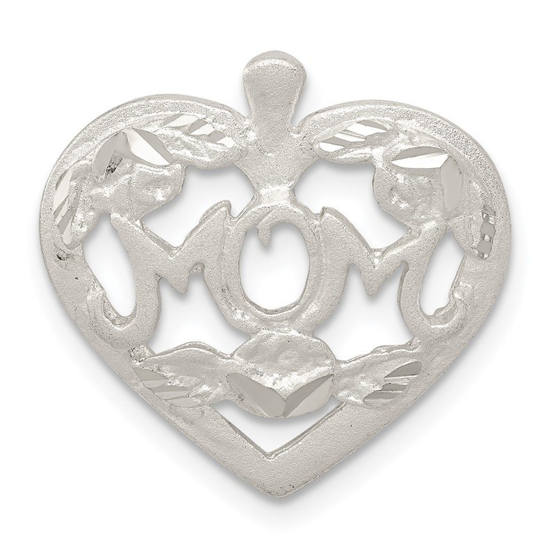 Quality Gold Sterling Silver MOM HEART W/ FLOWERS CHARM