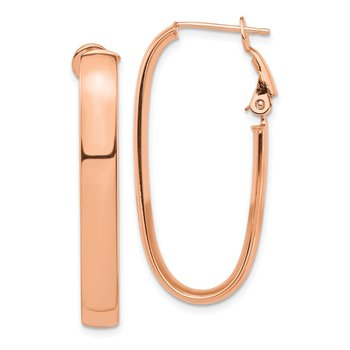 14k Rose Gold High Polished 5mm Omega Back Oval Hoop Earrings