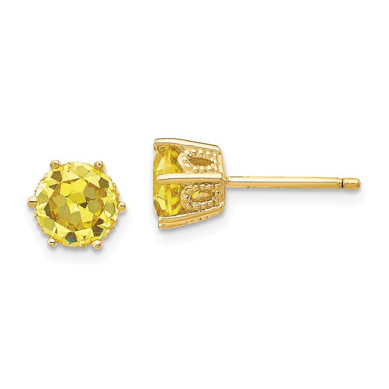 Cheryl M Sterling Silver Gold Plated 6 5mm Yellow Cz Stud Earrings