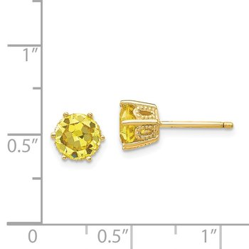 Cheryl M Sterling Silver Gold-plated 6.5mm Yellow CZ Stud Earrings