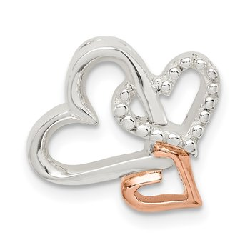 Sterling Silver & Rose Tone Heart Chain Slide