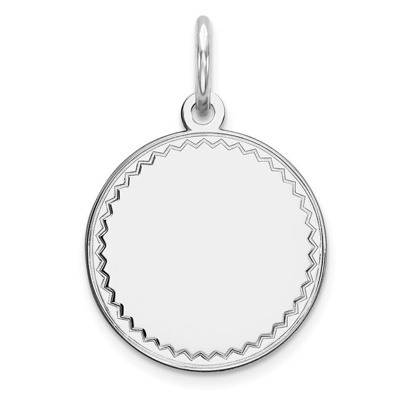 J.F. Kruse Signature Collection Sterling Silver Rhod-plated Eng. Rnd Polish Front/Satin Back Disc Charm