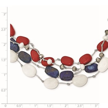 Sterling Silver Red Coral/Multi Crystal/White Jade/Lapis/2in ext. Necklace