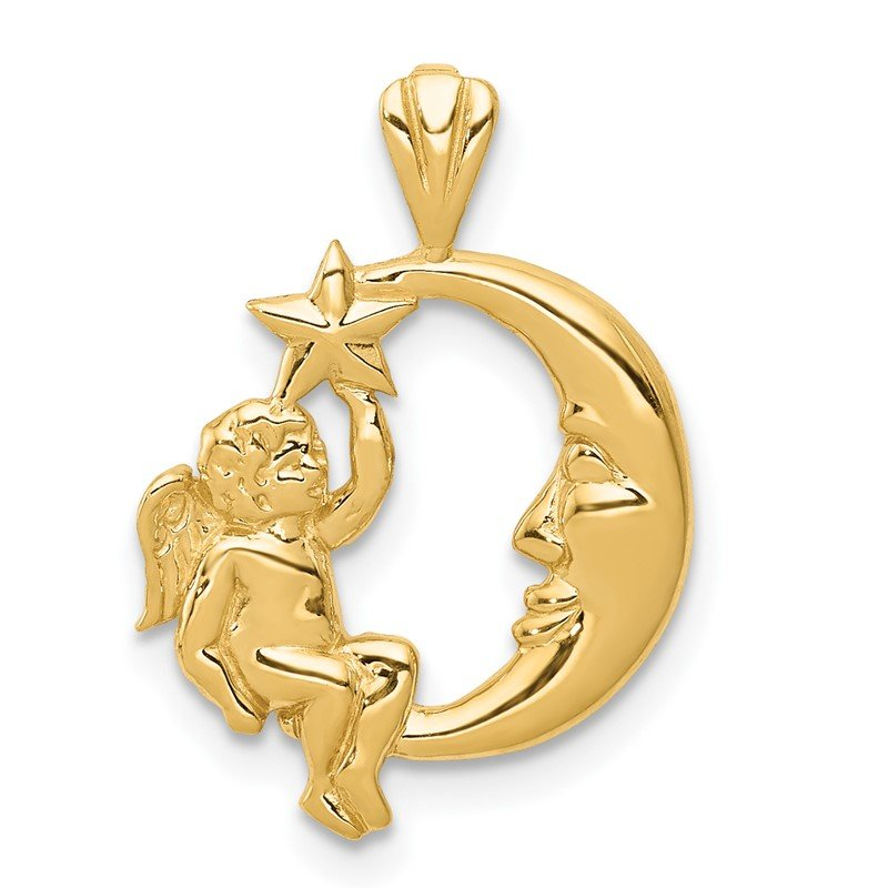 Quality Gold 14K Angel, Moon and Star Pendant