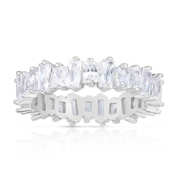 Silver White CZ Scatterd Baguette Ring