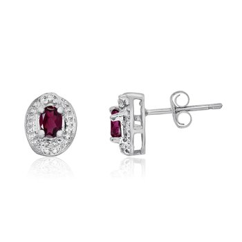 14k White Gold Ruby Earrings with Diamonds