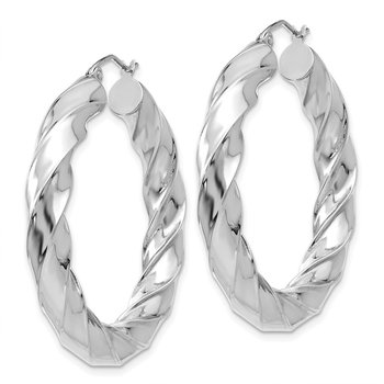 10k White Gold Diamond-cut 2mm Round Tube Hoop Earrings