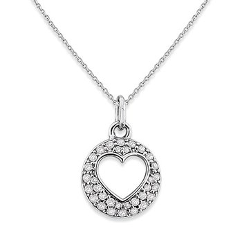 Diamond Open Heart Disc Necklace in 14k White Gold with 32 Diamonds weighing .33ct tw.