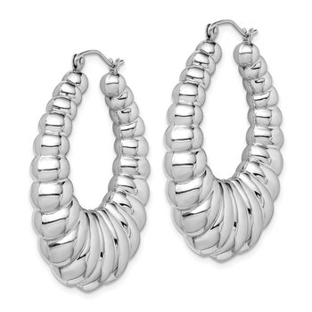 Sterling Silver Rhodium-plated Fancy Hoop Earrings