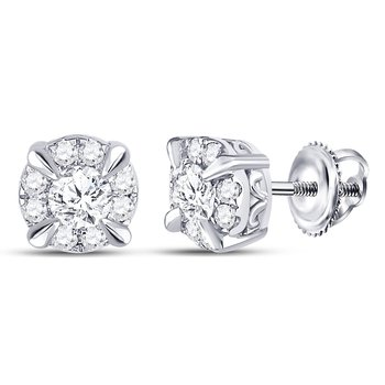14kt White Gold Womens Round Diamond Solitaire Stud Earrings 1/2 Cttw
