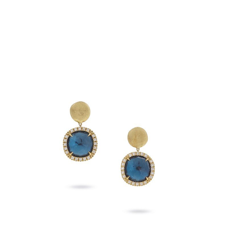 Marco Bicego Jaipur London Blue Topaz and Diamond Small Drop Earrings