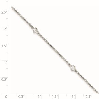 Sterling Silver Rhodium-plated 9in Plus 1in Ext. 5 Station CZ Anklet