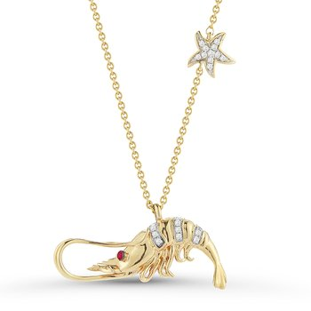"14K Diamond 0.08C & Ruby Eye Lobster Pendant, 18"" Chain 1"" long"