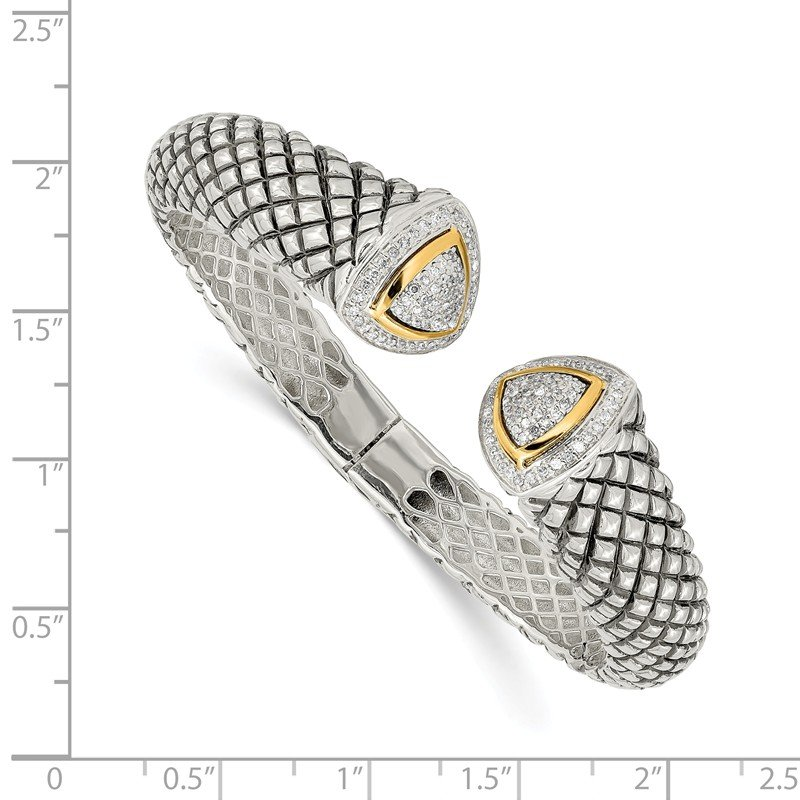 Shey Couture SS w/14k True Two-tone 1/2ct. Diamond Hinged Cuff Bracelet