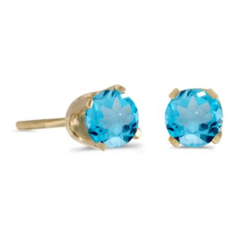 4 mm Round Blue Topaz Screw-back Stud Earrings in 14k Yellow Gold