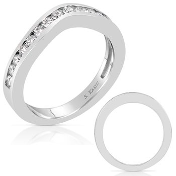 White Gold Curved Wedding Band