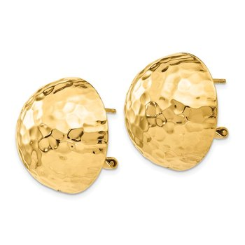 14k Hammered Omega Back Post Earrings