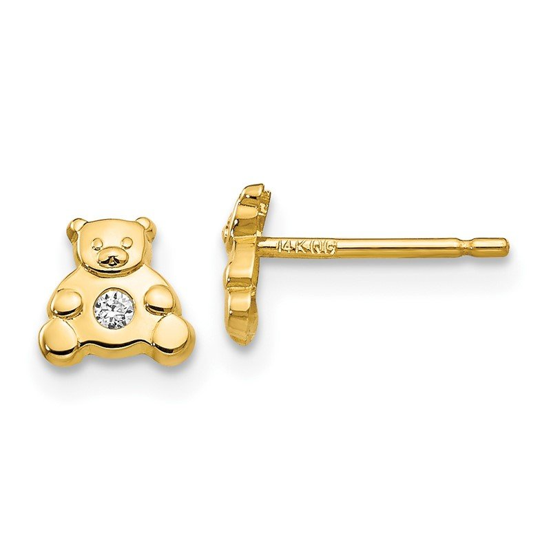 Quality Gold 14k Bear with CZ Earrings