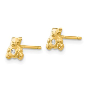 14k Bear with CZ Earrings
