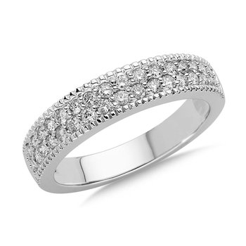 Pave set Diamond Anniversary Band / Ring 14k White Gold (1/2ct. tw.)