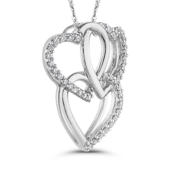 10K White Gold 1/3 ct White Diamond Triple Heart Pendant with Chain