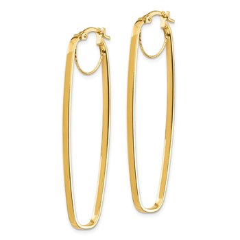 14K 2x16mm Polished Rectangular Hoop Earrings