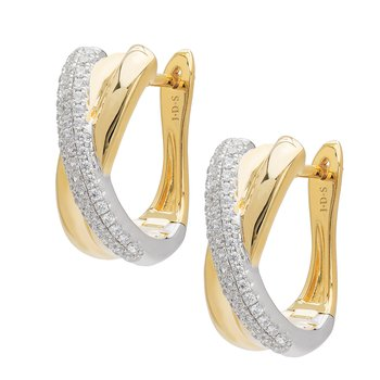 Diamond Two Tone Criss Cross Earrings