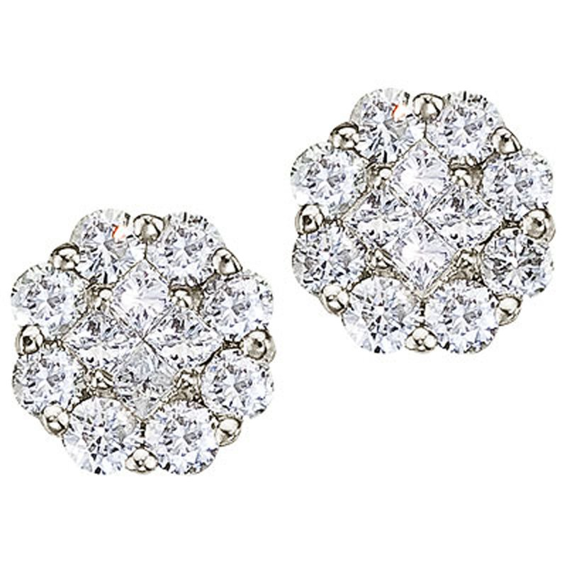 14K White Gold .54 ct Diamond Clustaire Stud Earrings