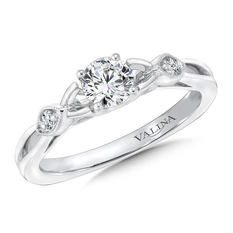 Valina Bridals Mounting with side stones .07 ct. tw., 3/8 ct. round center.