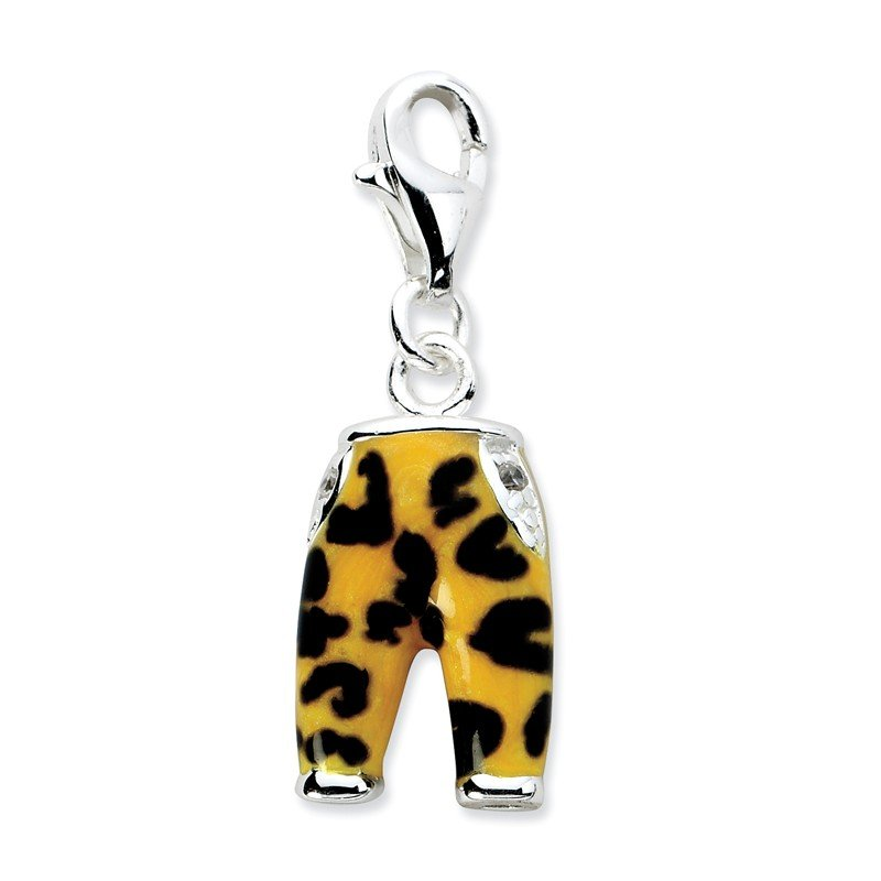 Quality Gold Sterling Silver Click-on CZ Enamel Leopard Pants Charm