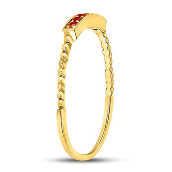 10kt Yellow Gold Womens Round Ruby Beaded Stackable Band Ring 1/20 Cttw