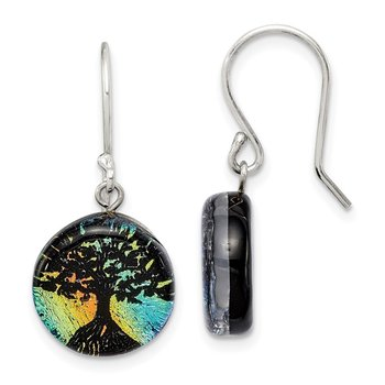 Sterling Silver Iridescent Glass Tree Dangle Earrings