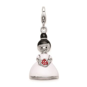 Sterling Silver Rhodium-plated w/ Lobster Clasp Enamel Bride Charm