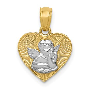 14k w/Rhodium Polished Guardian Angel in Heart Pendant