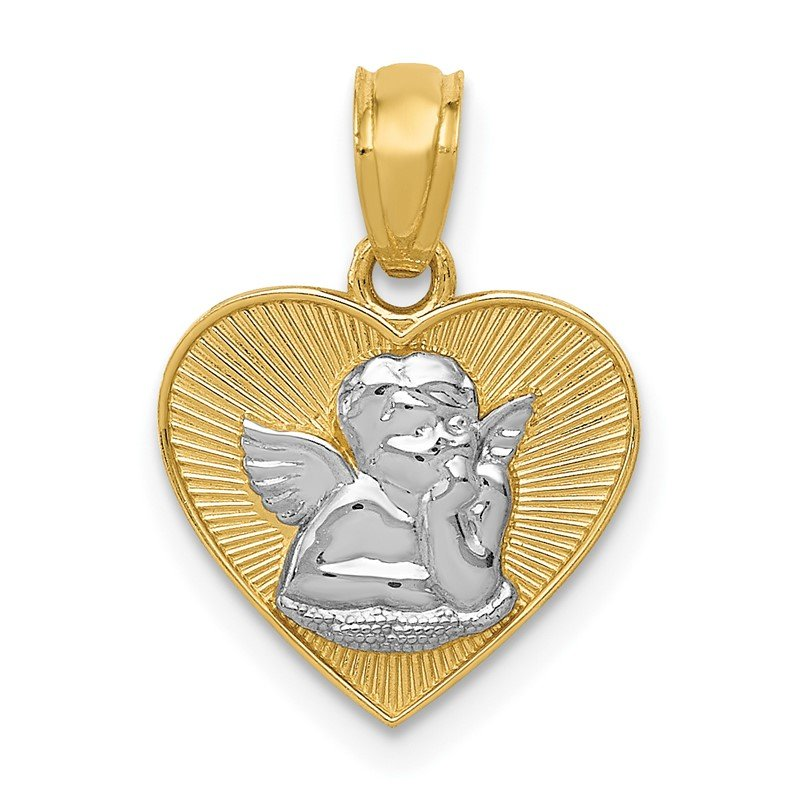 Quality Gold 14k w/Rhodium Polished Guardian Angel in Heart Pendant