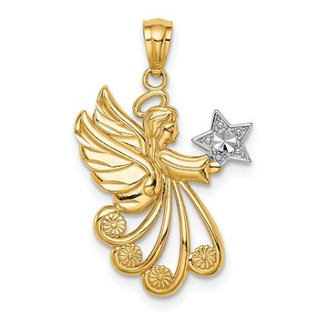 14K w/Rhodium D/C Angel with a Star