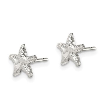 Sterling Silver Starfish Mini Earrings with D/C Center