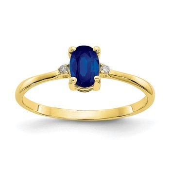 10k Polished Geniune Diamond & Sapphire Birthstone Ring