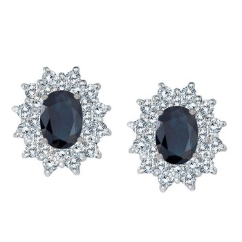 14k White Gold Oval Sapphire and Diamond Stud Earrings