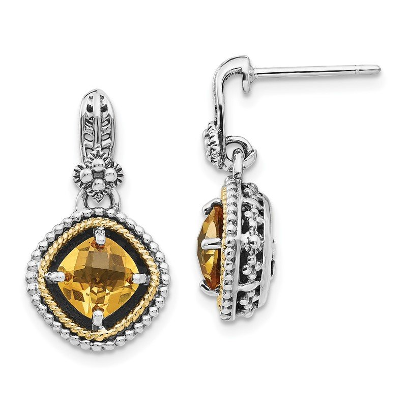 Quality Gold Sterling Silver w/14k Citrine Earrings