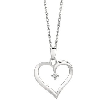 Silver Diamond .04ct Heart Necklace